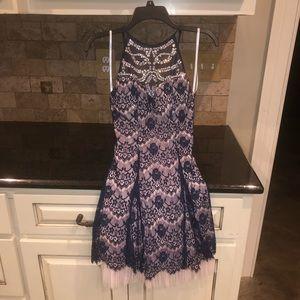 B. Darlin girls juniors 3/4 tulle & lace dress